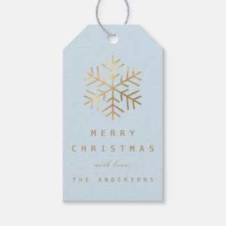 Merry To..Holiday Gift Tag Blue Gold Snowflakes