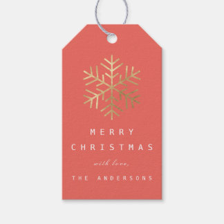 Merry To..Holiday Gift Tag Coral Gold Snowflakes