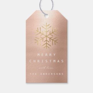 Merry To Holiday Gift Tag Skinny  Gold Snowflakes