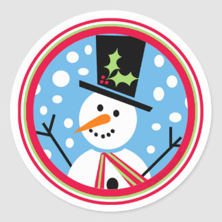 Merry Top Hat Snowman Sticker