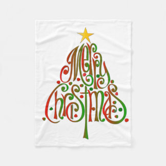 Merry Tree Christmas Fleece Blanket