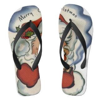 merry vintage christmas,retro,rustic,genuine,repro flip flops