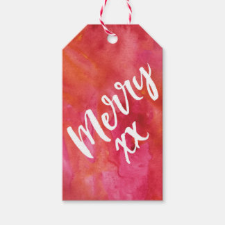 Merry watercolor Christmas gift tags