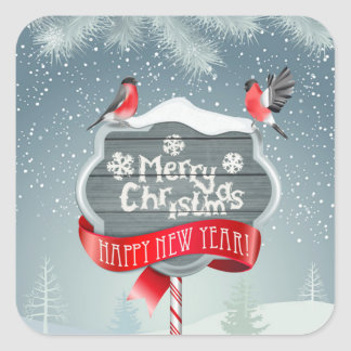 Merry White Christmas & Happy New Year with Birds Square Sticker