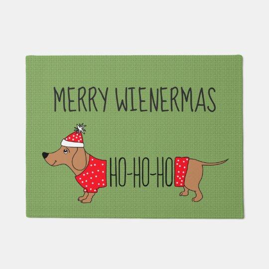 """Merry Wienermas Dachshund 18"""" x 24"""" Door Mat"""