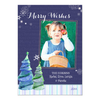 Merry Wishes Blue Trees Holiday Photo Card