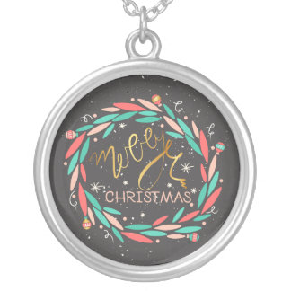 Merry Wreath Charm Silver Plated Necklace