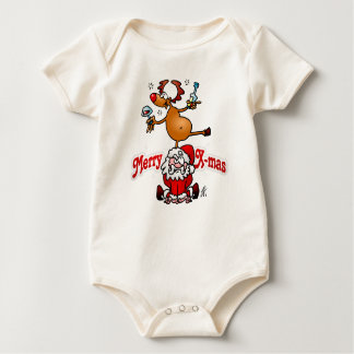 Merry X-mas from Santa Claus and his reindeer Baby Bodysuit