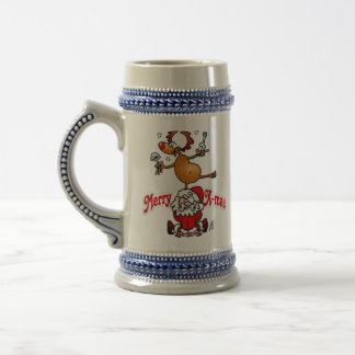 Merry X-mas from Santa Claus and his reindeer Beer Stein