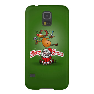 Merry X-mas from Santa Claus and his reindeer Galaxy S5 Covers