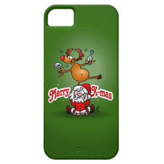 Merry X-mas from Santa Claus and his reindeer iPhone 5 Cases