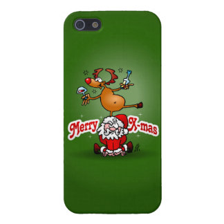 Merry X-mas from Santa Claus and his reindeer iPhone 5 Cover