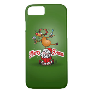 Merry X-mas from Santa Claus and his reindeer iPhone 8/7 Case