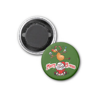 Merry X-mas from Santa Claus and his reindeer Magnet