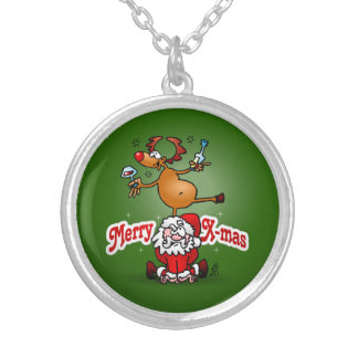 Merry X-mas from Santa Claus and his reindeer Silver Plated Necklace