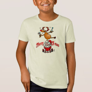 Merry X-mas from Santa Claus and his reindeer T-Shirt