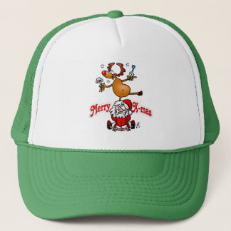 Merry X-mas from Santa Claus and his reindeer Trucker Hat