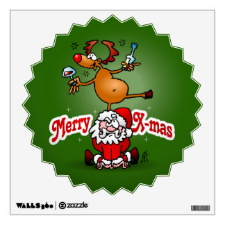 Merry X-mas from Santa Claus and his reindeer Wall Decal