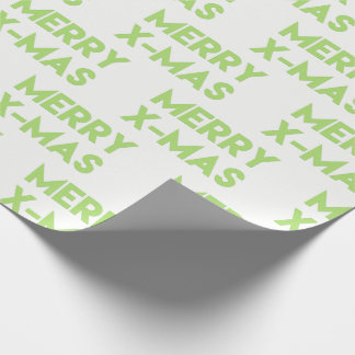 Merry X-mas, Modern Green Christmas Wrapping Paper