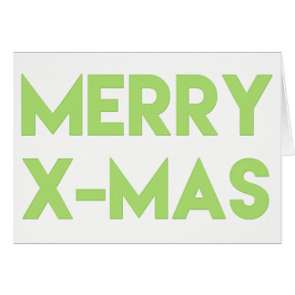 Merry X-Mas, Modern Green Typography Christmas Card