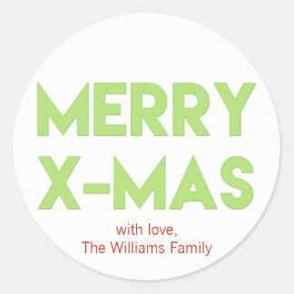 Merry X-Mas, Modern Green Typography Christmas Classic Round Sticker