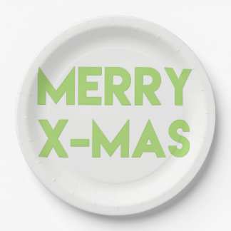 Merry X-Mas, Modern Green Typography Christmas Paper Plate