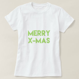 Merry X-Mas, Modern Green Typography Christmas T-Shirt