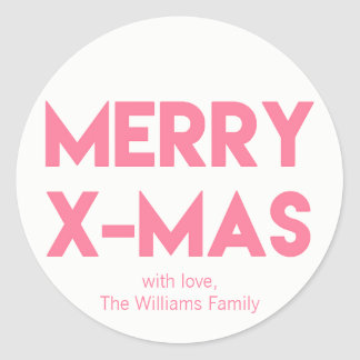 Merry X-Mas, Modern Hot Pink Typography Christmas Classic Round Sticker
