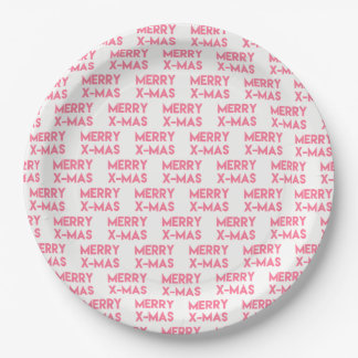 Merry X-Mas, Modern Hot Pink Typography Christmas Paper Plate