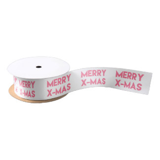 Merry X-Mas, Modern Pink Typography Christmas Satin Ribbon