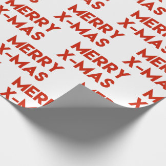Merry X-mas, Modern Red Christmas Wrapping Paper