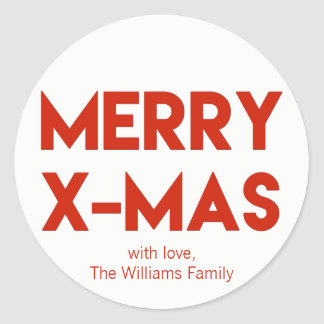 Merry X-Mas, Modern Red Typography Christmas Classic Round Sticker