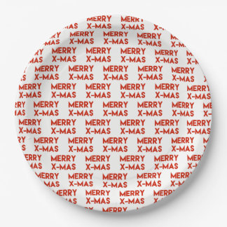 Merry X-Mas, Modern Red Typography Christmas Paper Plate