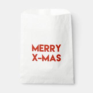 Merry X-Mas, Modern Typography Favour Bag