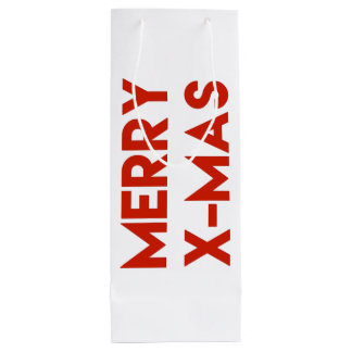 Merry X-Mas, Modern Typography Wine Gift bag