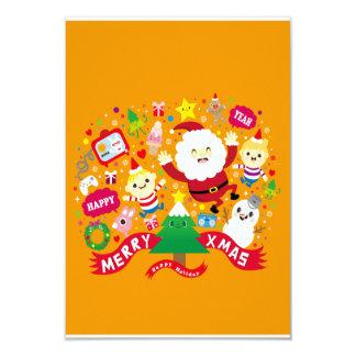 """Merry Xmas 3.5"""" X 5"""" Invitation Card"""