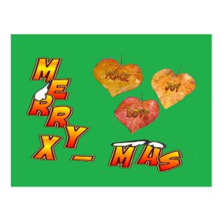 Merry Xmas & 3 heart shaped leaves green Postcard