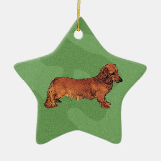 Merry Xmas Dachshund Ceramic Ornament