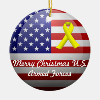 Merry Xmas/Happy Holidays U.S. Armed Forces Ceramic Ornament