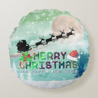Merry Xmas & Happy New Year | Round Throw Pillow Round Pillow