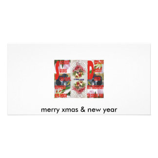 merry xmas & new year photo card template