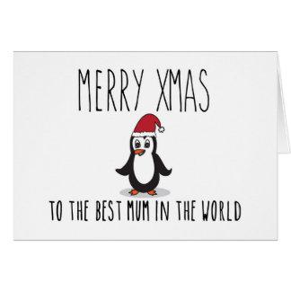 Merry Xmas Penguin Christmas Card Best Mum