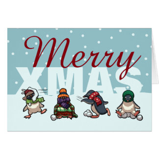 Merry Xmas Penguin Christmas Snowball Cartoon Card