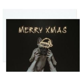 Merry Xmas Pug Card   Christmas Holiday Card Flat