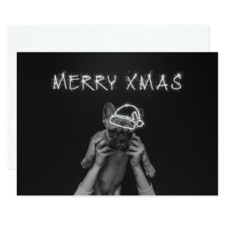 Merry Xmas Pug Card | Christmas Holiday Card Flat
