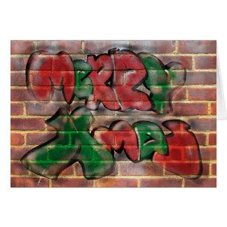 Merry Xmas Red Green Graffiti Card