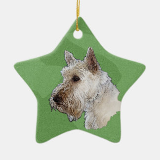 Merry Xmas Scottish Terrier (Wheaten) Ceramic Ornament