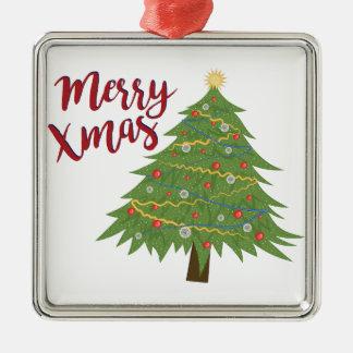 Merry Xmas Silver-Colored Square Ornament