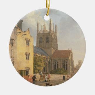 Merton College, Oxford, 1771 (oil on canvas) Round Ceramic Ornament