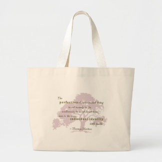 Merton quote perfection 3 large tote bag